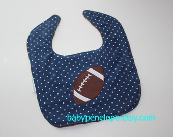 Clearance*** Boutique Style Baby Bib - Football Baby Gift - Inexpensive Baby Shower Gift for Boy- Football theme Baby shower Gift- RTS
