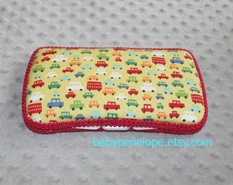 Clearance*** Boutique Style Baby Wipes Case - Toot Toot Lime - Ready to Ship