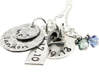 Personalized Necklace - Hand Stamped Mommy Necklace