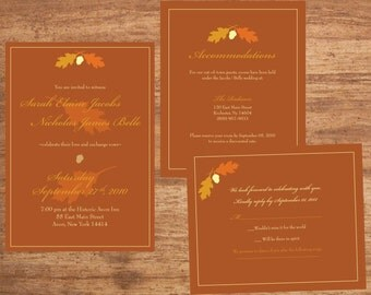 Wedding Invitation Set Digital Files Fall Leaf Acorn
