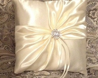 ring bearer pillow white or ivory satin