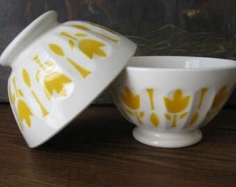 Yellow Café au Lait Bowl Vintage Retro French