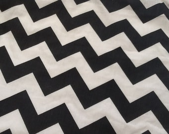 Black / White Large Chevron Cotton Fabric, One Yard (X60), more available