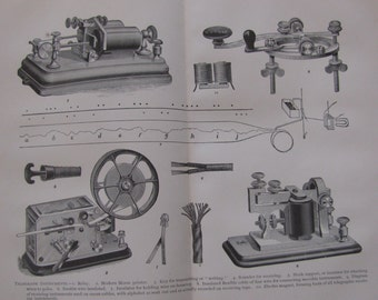 Original Antique Print from Cyclopedia International of Telegraph Instuments 1898