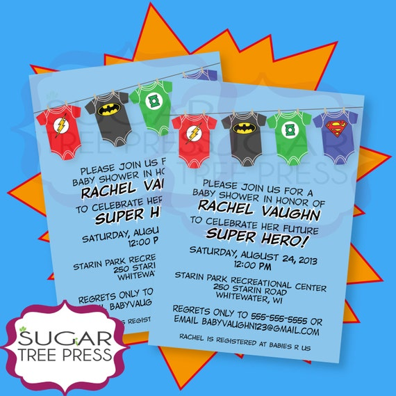 Justice League Invitations Free: Onesie Super Hero Justice League Baby Shower Invitation