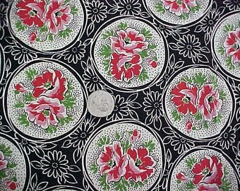 Vintage 30s 40s Fabric Remnant Quilting Red Flowers on Black Background