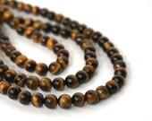 tigereye beads, 6mm round gemstone brown, HALF strand (738S)