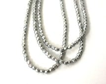 Metallic silver glass beads, matte finish 4mm faceted round, full strand (681G)