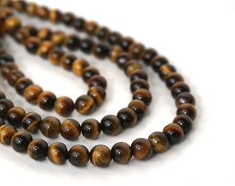 tigereye beads, 6mm round natural brown gemstone, half and full strands available   (738S)