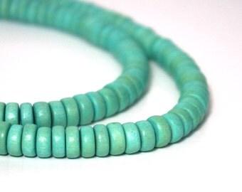 Wood Rondelle Beads, Aqua Green, 8mm x 4mm, eco-friendly wooden beads (915R)