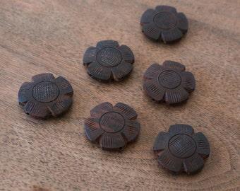 Carved Wood Flower Beads, dark brown 28mm, set of 6 (944R)