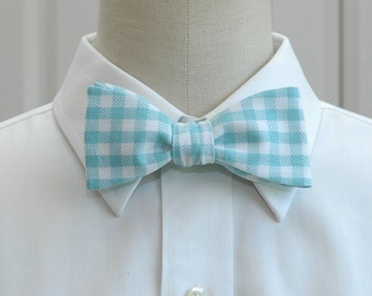 Men's Bow Tie in aqua and white large gingham plaid (self-tie)