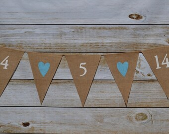 Wedding Banner - Engagement Photo - Wedding Date Banner - Photo Prop - Burlap Banner - date banner - date sign - bunting - wedding bunting