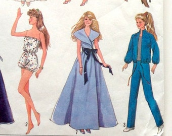 80s Simplicity 8333 Evening Wear, Ruffle Wedding Gown, Dresses, Sports Outfits for  11.5  inch Doll