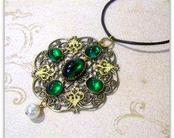 Medieval Necklace - Renaissance Necklace - Medieval Jewelry - Renaissance Jewelry, Tudor Jewelry, Tudor Necklace, Historical Replica