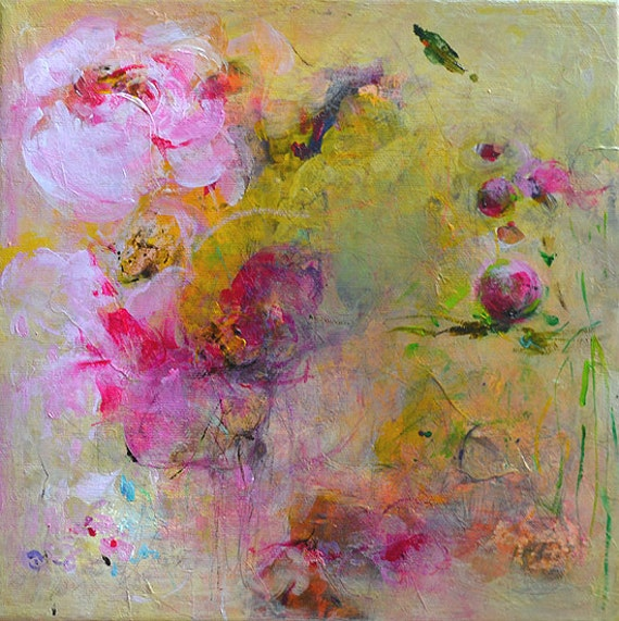 PEONIES Original Abstract Painting on Stretched Canvas