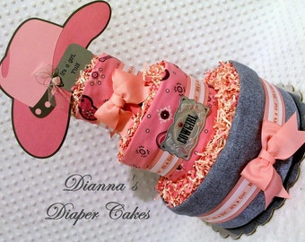 Cowgirl Baby Diaper Cake Shower Gift or Centerpiece