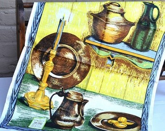 Vintage Varitex Kitchen Towel, Orig. Label, NOS, Hand Printed, Linen, 22 x 32 in., Yellow, Brown, Blue Green Table Scene, Never Used, Clean