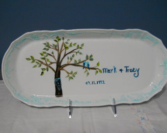 Personalized China Wedding Platter/ Plate Hand Painted Memorabilia Made for you