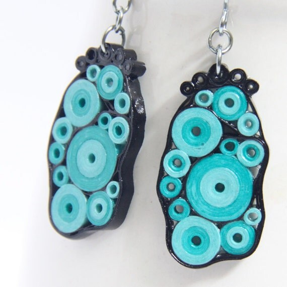 CIJ 30% off Retro Earrings Aqua Turquoise and Black Circles OOAK Niobium Eco Friendly Artisan Jewelry hypoallergenic