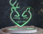 Buck and Doe Wedding Cake Topper  - Acrylic - Personalized - Light Extra