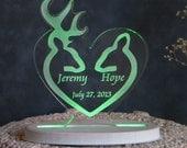 Buck and Doe Wedding Cake Topper  - Acrylic - Personalized - Light Option