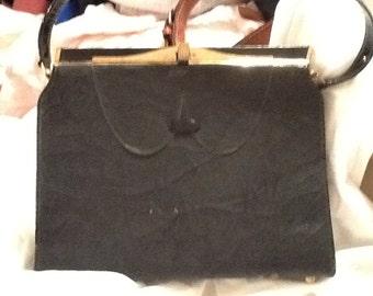 Vintage Black Air Step Handbag Air Step Purse Gold Accents