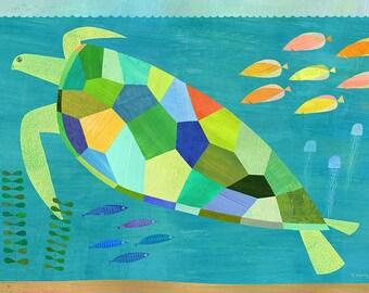 Sea Turtle Swim, Canvas Art Print