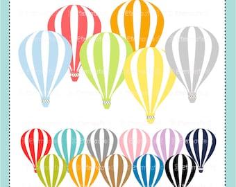 HOT AIR BALLOON clip art, hot air balloons clip art, baby shower clip art, balloon, instant download clip art.