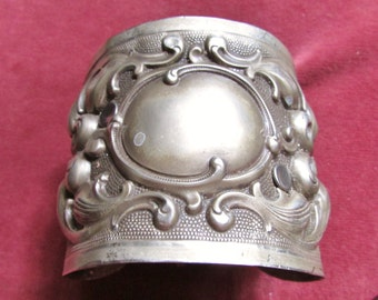 Antique baroque German silver cuff repousse French Victorian wide bracelet one of a kind leather