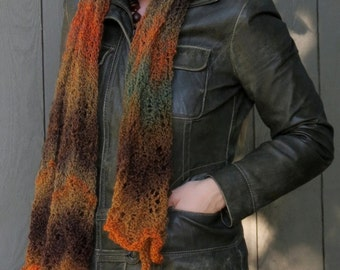 Fall Foliage Lace Wrap hand knit shawl scarf