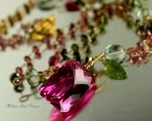 Pomegranate Blast Necklace - Tourmaline, Pyrite, Prasiolite,Hot Pink Topaz,Vesuvianite Gold Necklace