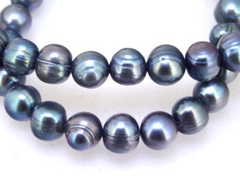 Black Round Cultured Pearl Gemstone Beads 9mm-9.5mm Strand 16inch Full One Strand  Black Pearl ,Real Pearl Freshwater Cultued pearl Jewelry