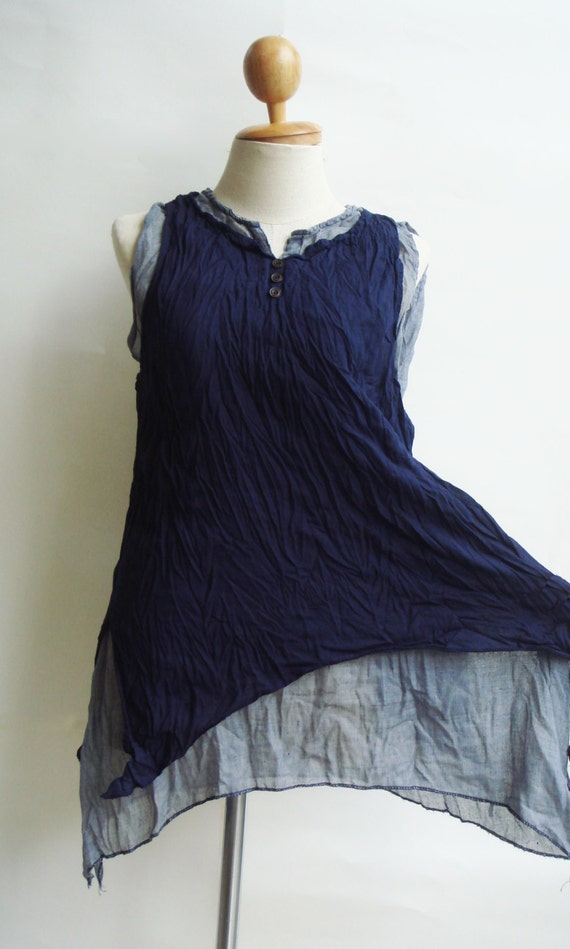 B5, Deep Sea Two Tone Two Layers Sleeveless Dark Blue Cotton Blouse