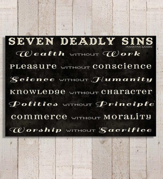 Gandhi's Seven Deadly Sins Canvas Gallery Wrap Modern