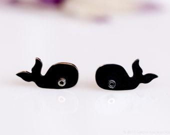 WHALE Oxidized Black Stud Earrings Sterling Silver Mini Zoo series.