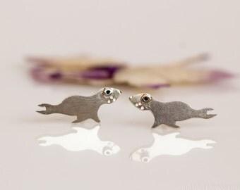 SEAL Stud Earrings Sterling Silver Mini Zoo series