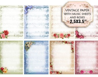 Old paper Vintage French Music Sheets with Roses note scrapbooking shabby Decoupage 3.5x2.5 inch (386) set of 2 sheets