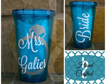 Personalized Acrylic Cup/Tumbler for Bachelorette/Engagement/Wedding Party