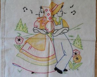 Vintage VOGART Peasant Boy & Girl Embroidered Cotton Pillow Case Cover