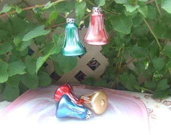 Set of 5 Glass christmas decorations made in West Germany. Bells in Different Colors.