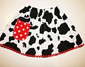 Cow print Skirt  Jessie Cowgirl skirt. Cow Black White   Print Skirt Size 6m-8.