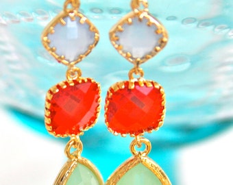 Periwinkle Blue Cherry Red Mint Green Pear Gold Tone Jewel Rhinestone Gold Tear Drop Dangle Earrings - Wedding, Bridal, Bridesmaid,Christmas