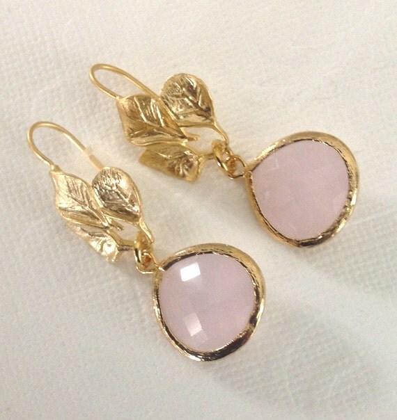 Blush Wedding Jewelry Drop earrings, pink dangle earrings, pink earrings, Preppy Pastel jewelry, Bridesmaid earrings, leaf earings
