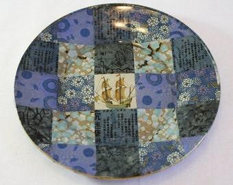 Asian Style Decoupaged Glass Plate: Blue Ship