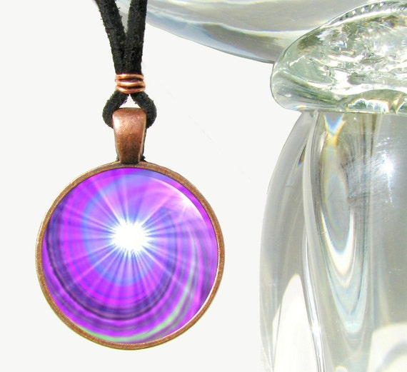 Reiki Jewelry Energy Art Violet Chakra Swirl Pendant Necklace Antique Copper