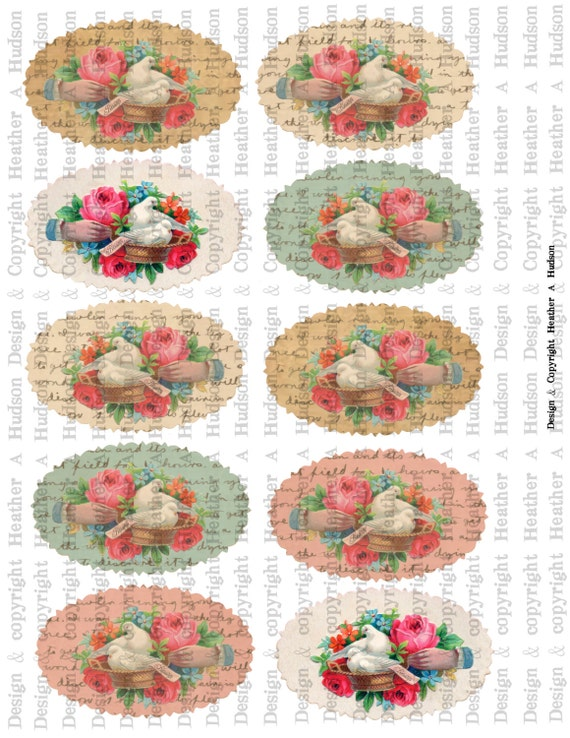 Victorian Vintage Valentine's Day Romance Calling Cards Digital Collage sheet Printable