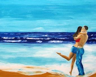 "couple at beach painting original art ocean seascape waves BREEZE OF LOVE original oil painting Mariana Stauffer 24x36"" palette knife"