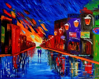"""cityscape paintings rain painting couple night street town light night couple oil on canvas textured 24x36"""" Mariana Stauffer Malorcka"""