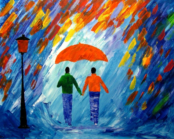 Items similar to couple paintings love rain original ...